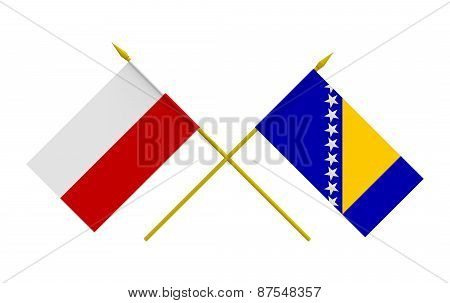 Flags, Poland And Bosnia And Herzegovina