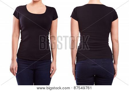 Black Tshirt On A Young Woman