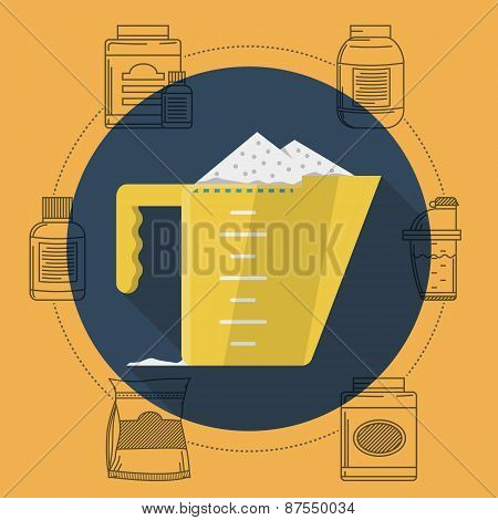 Flat color vector illustration for sports diet