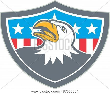 American Bald Eagle Head Flag Shield Cartoon