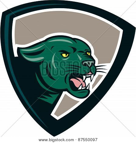 Black Panther Head Growling Shield Cartoon