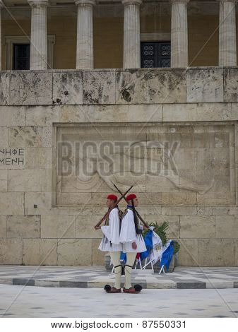 ATHENS,GREECE-MAR 21:The Evzones - elite unit of the Greek Army that guards the Greek Tomb of the Unknown Soldier during the celebrations for the Independence Day,March 21,2015 in Athens,Greece