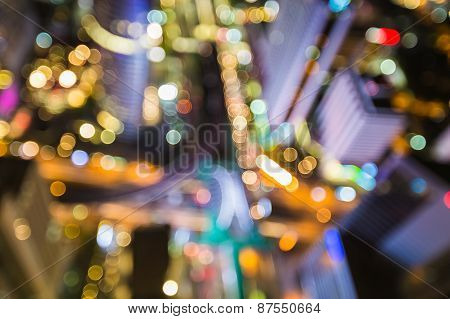 Aerial view of blurred bokeh lights of central business area