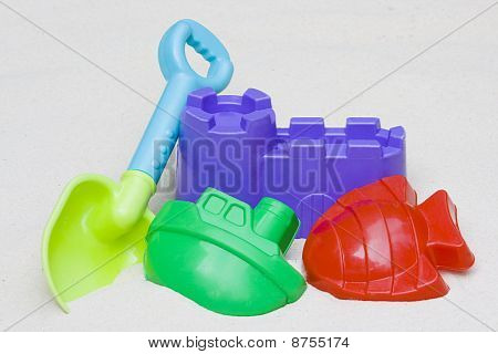 Children's Beach Toys Laying In The Sand