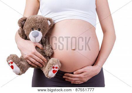 Pregnant Woman With Teddy Bear.