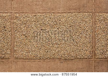 Rye Grains On Sackcloth, With Place For Your Text