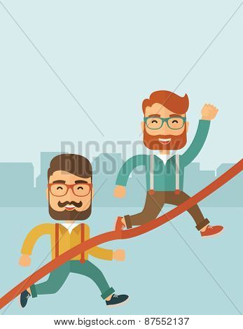 two hipster Caucasian men with beard running to the finish line for meeting the deadline.
