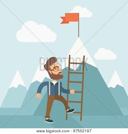 A businessman standing while holding the career ladder