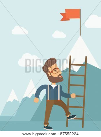Man climbing career ladder