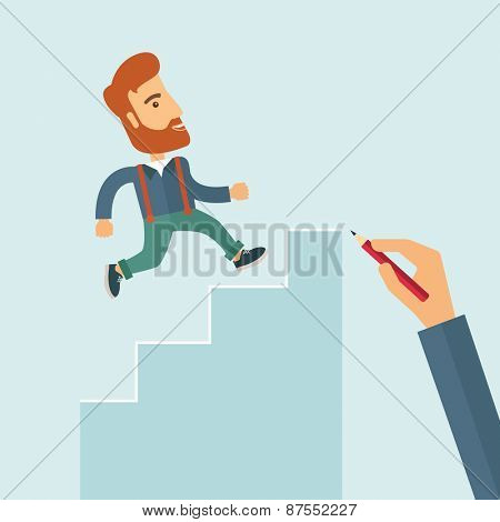 A hand with red pen drawn a hipster Caucasian business man climbing stairs