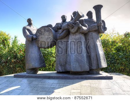 Brass Quartet. Monument. Lipetsk. Russia