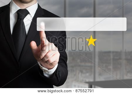 Businessman Pushing Flat Button One Golden Star