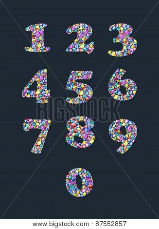 Colorful diamond numbers with gemstones.