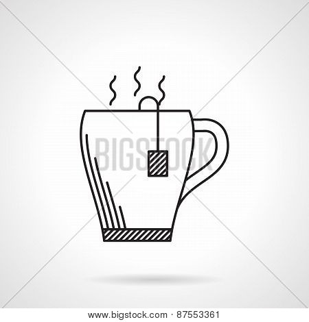 Tea mug black line vector icon