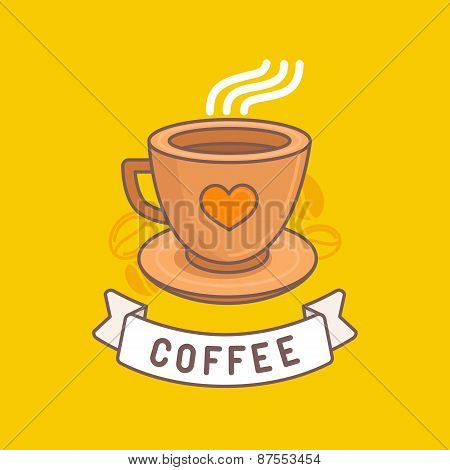 Vector Coffee Emblem In Trendy Linear Style