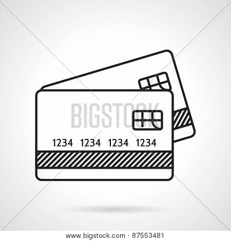 Credit cards black line vector icon