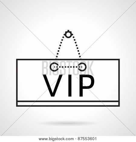 VIP plate black line vector icon