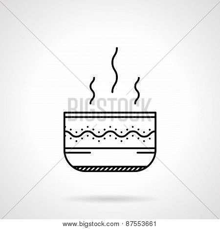 Soup bowl black line vector icon