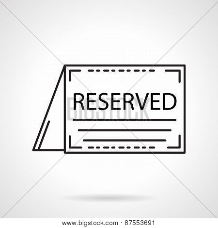 Reserved card black line vector icon