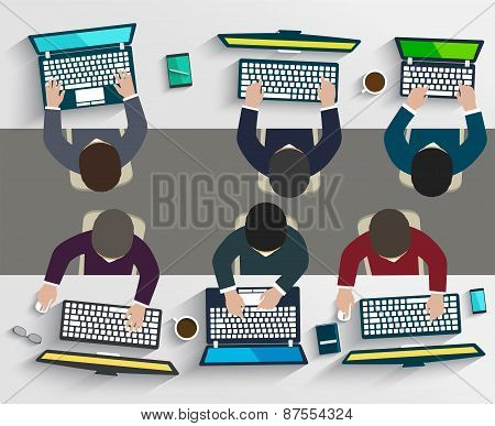 Group Of Business People Working Using Digital Devices