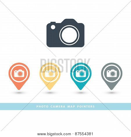 Map pointer with a photo camera icon