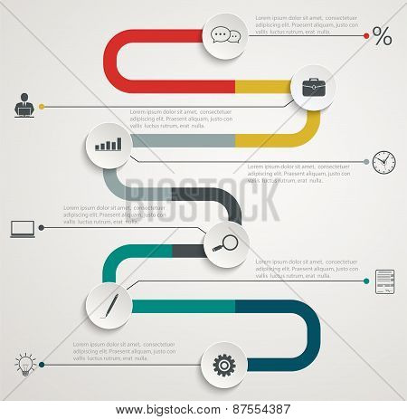 Road Infographic Timeline With Icons