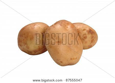 Fresh Potatoes Isolated On White