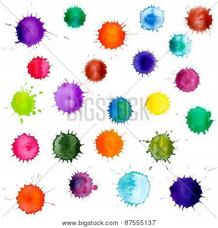 Colorful abstract vector ink paint splats.
