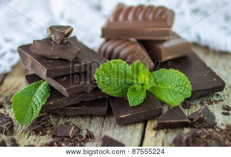 Pieces Of Dark And Milk Chocolate And Mint