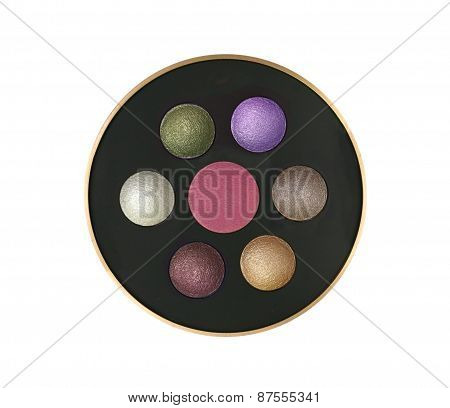 Multicolor Eyeshadows In Round Box Isolated On White