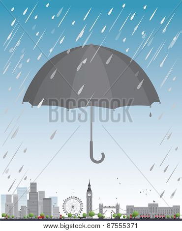 London under umbrella Travel concept Vector illustration
