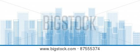 Outline City Skyscrapers in blue color Vector illustration