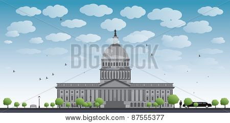 Washington DC Capitol landscape with cloud and blue sky, USA Vector illustration