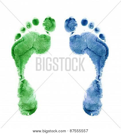 Close Up Of Colorful Foot Prints Isolated On White Background