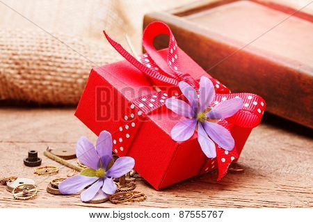 Red Gift Box Tied Red Ribbon