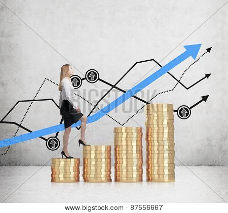 Young Business Woman Is Going Up On The Coin Stairs. Line Graph Background.