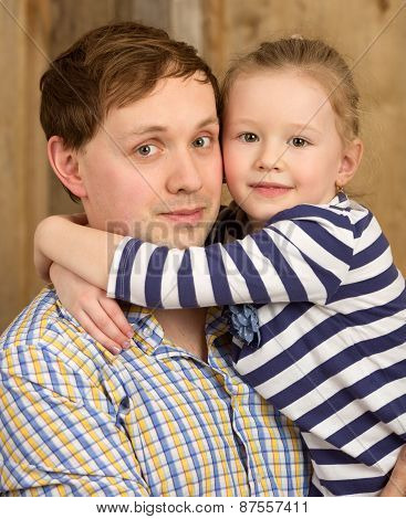 Portrait of father and beautiful little daughter