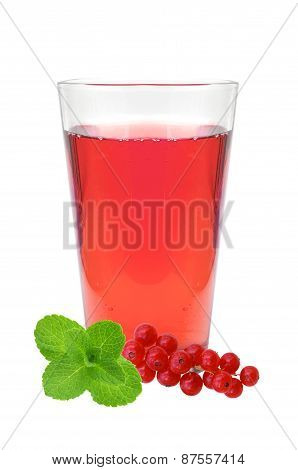 Glass Of Juice, Mint And Fresh Currant Berries Isolated On White