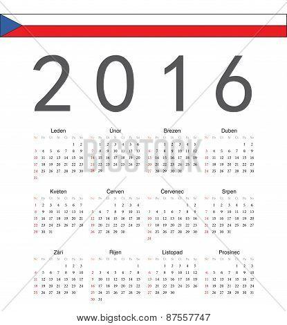 Square Czech 2016 Year Vector Calendar