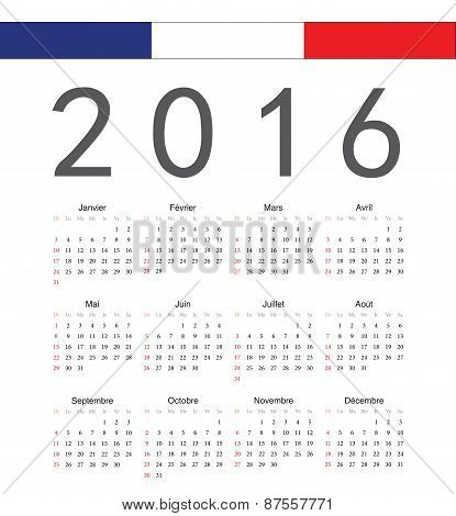 Square French 2016 Year Vector Calendar