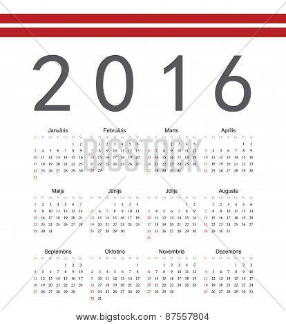 Square Latvian 2016 Year Vector Calendar