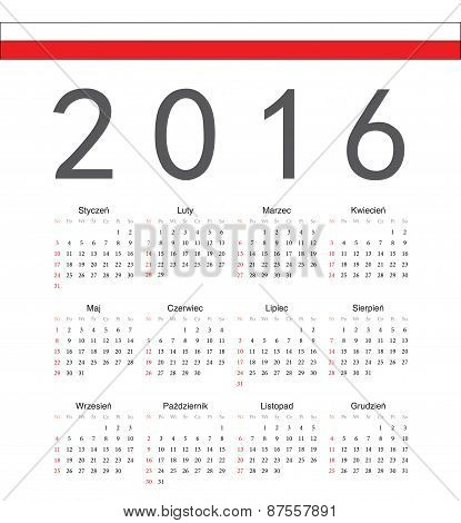 Square Polish 2016 Year Vector Calendar
