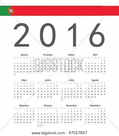 Square Portuguese 2016 Year Vector Calendar