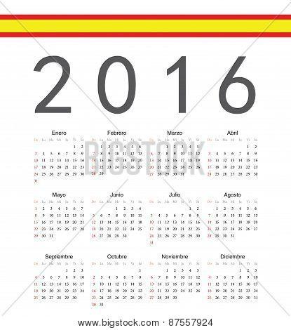 Square Spainish 2016 Year Vector Calendar