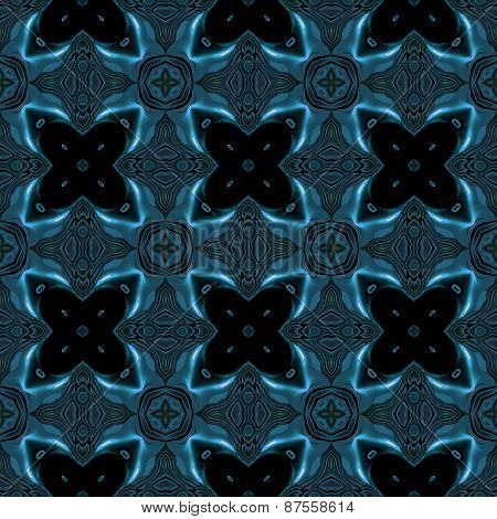 Abstract Blue Metallic Texture With Viking Like Symbols Made Seamless