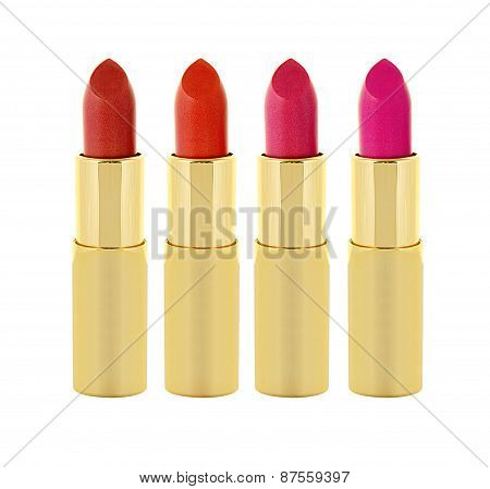 Beautiful Red And Pink Lipsticks In Golden Tube Isolated On White