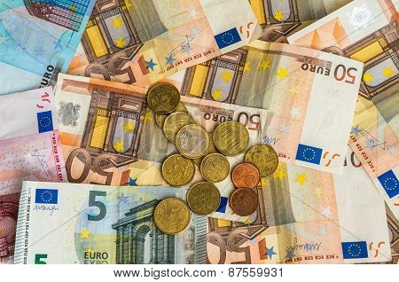 Euro Banknotes And Euro Coins