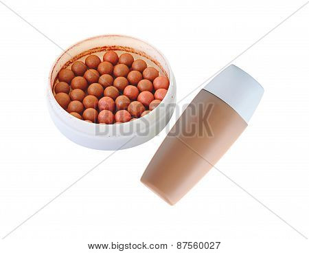 Cosmetics Rouge And Makeup Foundation Isolated On White