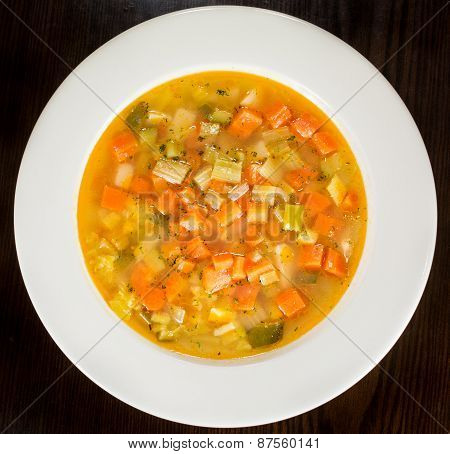 Minestrone Vegetable Soup on White Plate