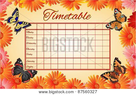 Timetable Gerbera And Butterflies Vector